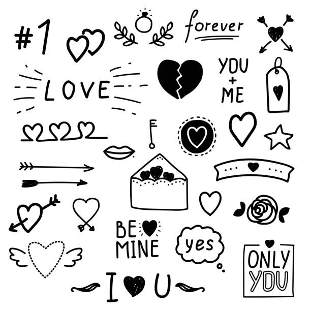hand drawn love vector set. - kiss stock illustrations