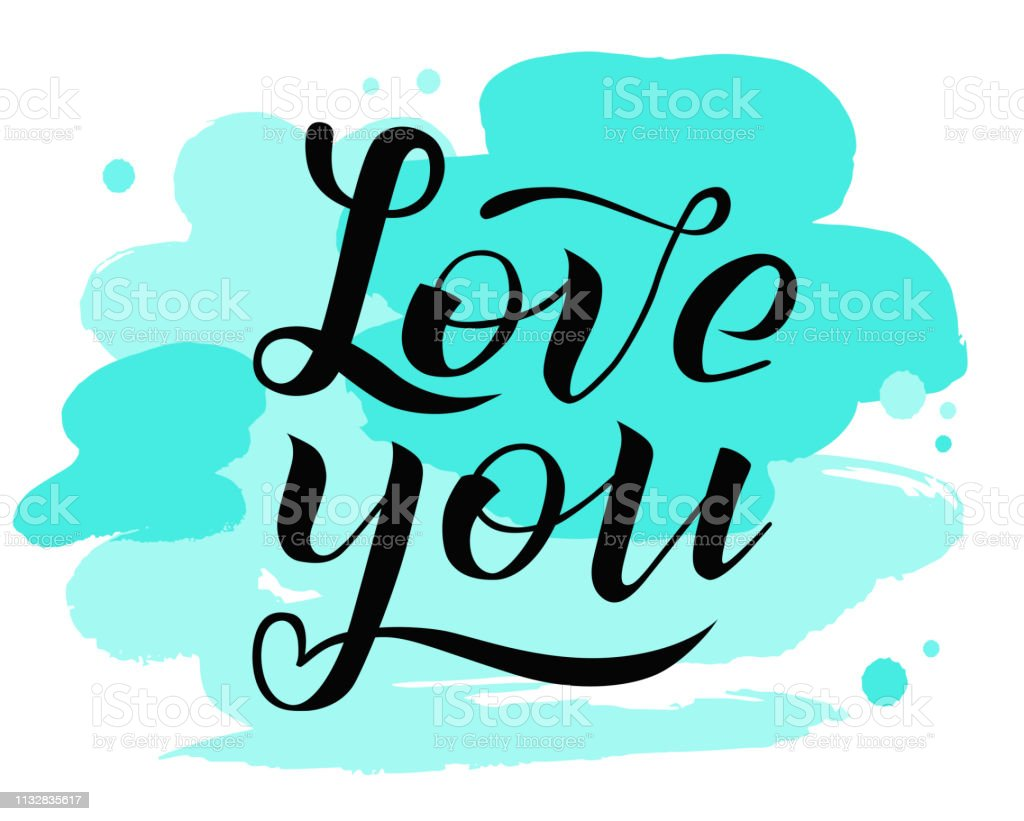 Hand Drawn Love You Black Lettering On White Background With
