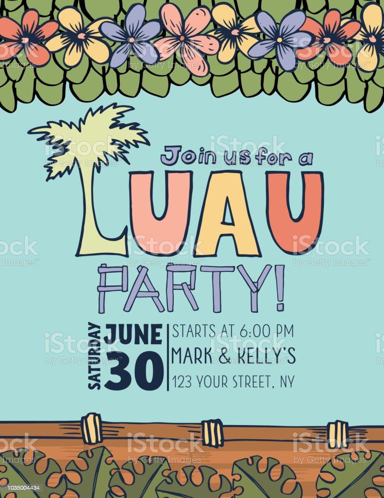 hand drawn luau party invitation template stock vector art more