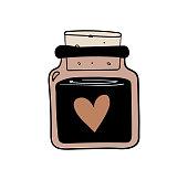 istock Hand drawn magic bottle for witchcraft, magic boho illustration, love potion vase. Bohemian tattoo sketch, icon, esoteric logo. Vector illustration. 1301018153