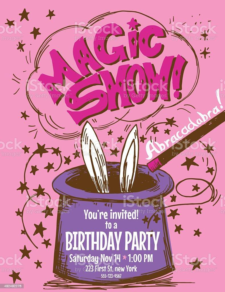 Hand Drawn Magic Show Birthday Party Invitation Template Stock ...