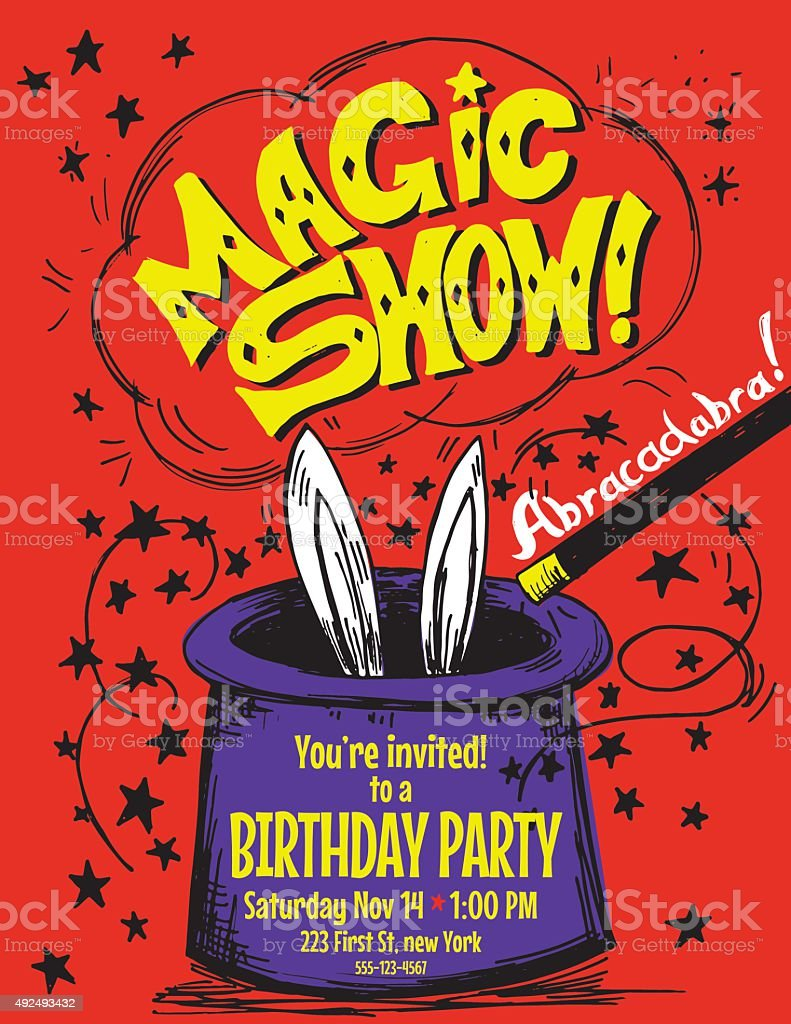 Hand Drawn Magic Show Birthday Party Invitation Template stock ...