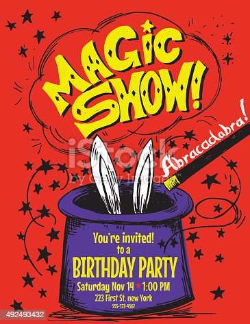 Hand Drawn Magic Show Birthday Party Invitation Template. A magician hat with a magic wand and rabbit ears. The text