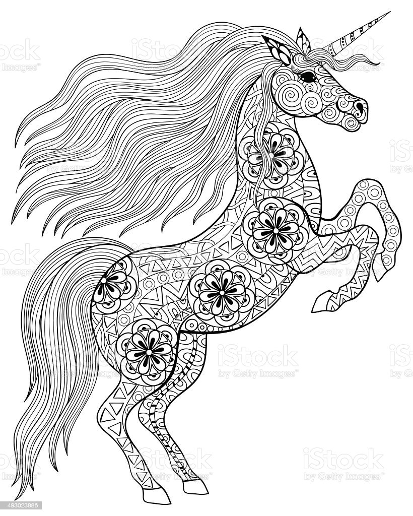 Main dessin e magic licorne coloriage pour adulte - Mandala de chevaux ...