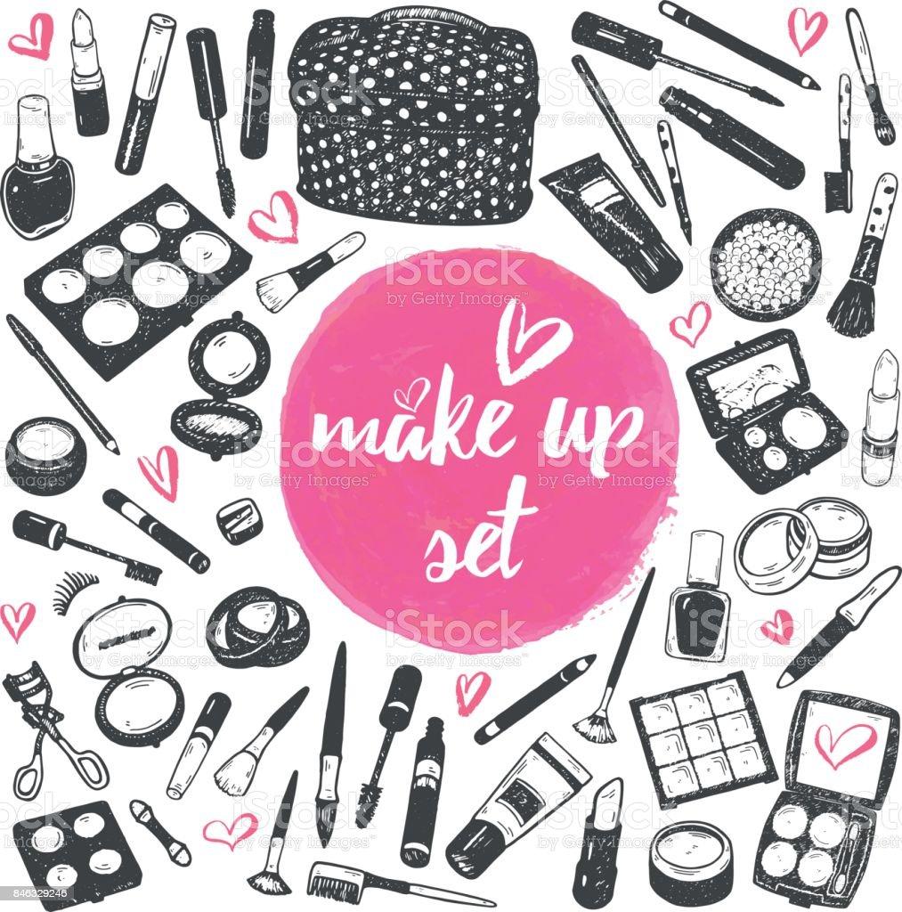 Hand drawn make up graphic cosmetics set, nail polish, powder, concealer, mascara, eye shadow. Isolated vector vector art illustration