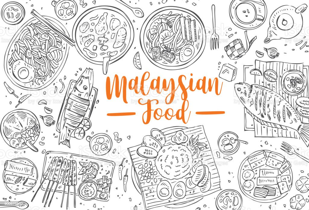 Hand drawn Malaysian food, Top view Asian Food background, Vector vector art illustration