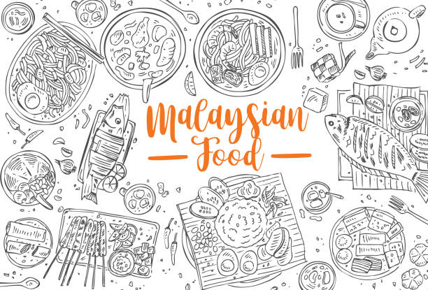 Hand Drawn Malaysian Food Top View Asian Background Vector Art Illustration
