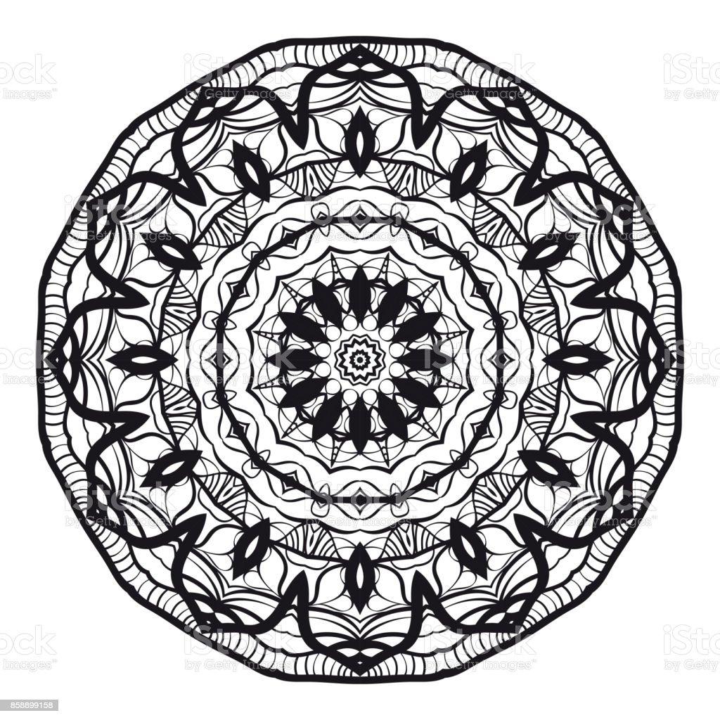 Hand Drawn Mandala Element Black And White Vector Illustration For