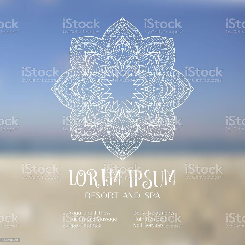 Hand drawn mandala on blurred sky vector art illustration
