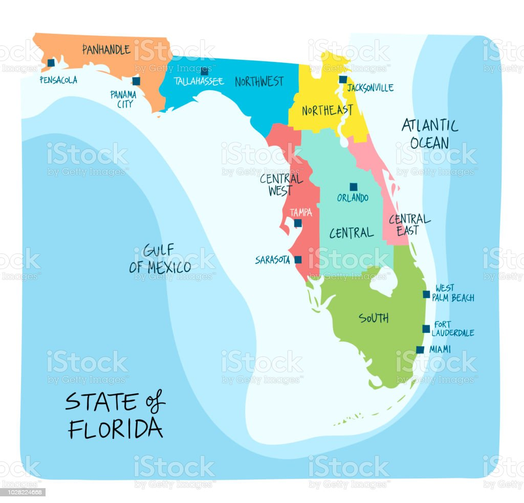 Map Of Florida Showing Counties.Hand Drawn Map Of Florida With Regions And Counties Stock