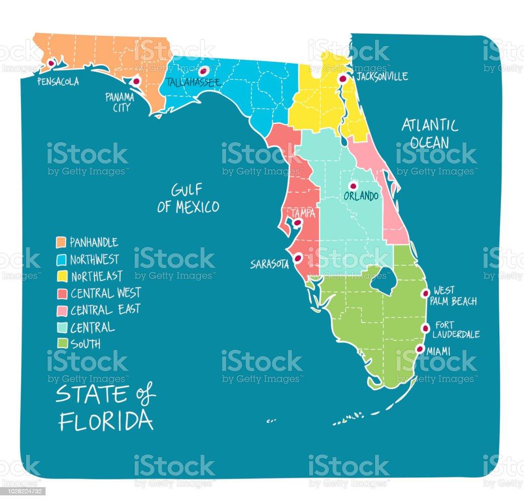 Hand Gezeichnete Karte Von Florida Mit Regionen Und Grafschaften