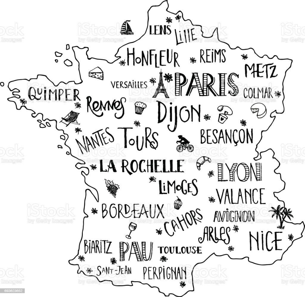 Map Of France With City Names.Hand Drawn Map Of France With Lettering Of Main Cities And Main