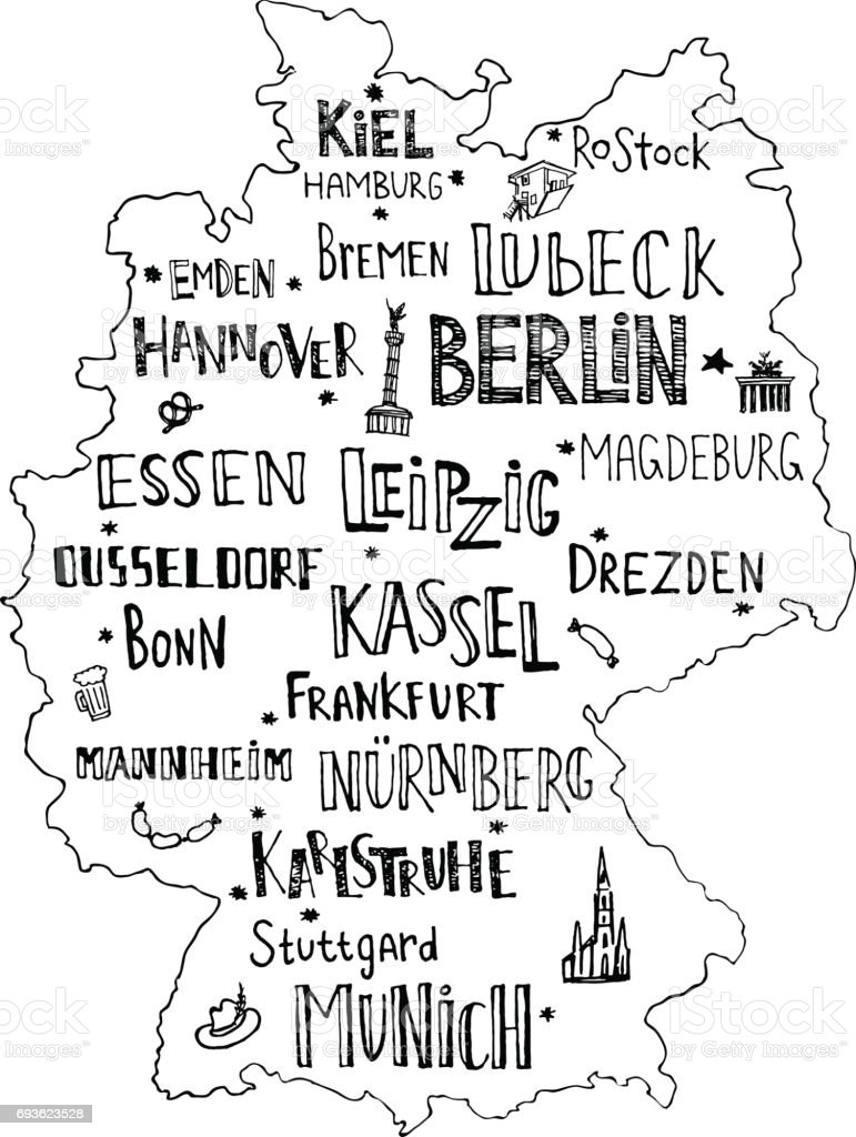 hand drawn map of germany with lettering of main cities and main symbols handwritten name
