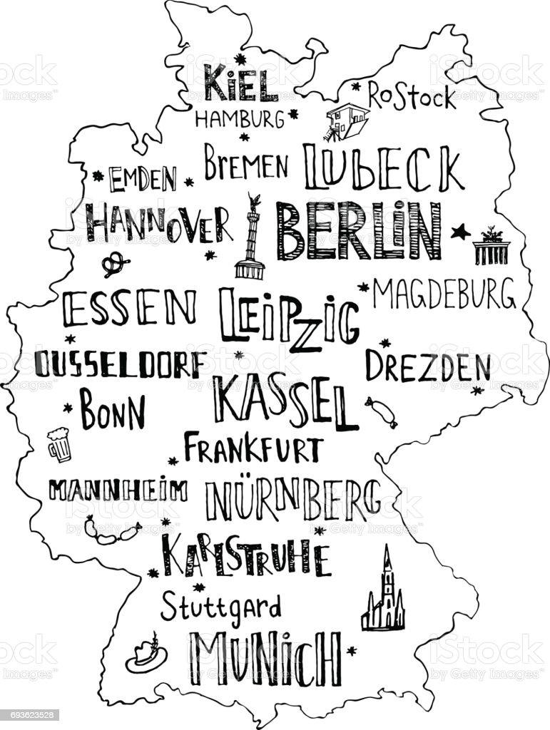 Mão mapa desenhado da Alemanha com rotulação das principais cidades e principais símbolos. Nome manuscrita de cidades Alemanha. Ilustração vetorial para design de cartaz ou cartão postal. - ilustração de arte em vetor