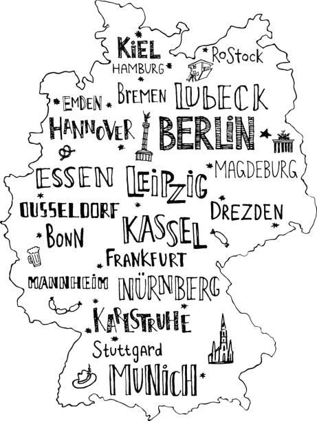 Mapa dibujado mano de Alemania con el deletreado de las principales ciudades y los principales símbolos. Nombre escrito a mano de ciudades de Alemania. Ilustración vectorial para el diseño de cartel o postal. - ilustración de arte vectorial