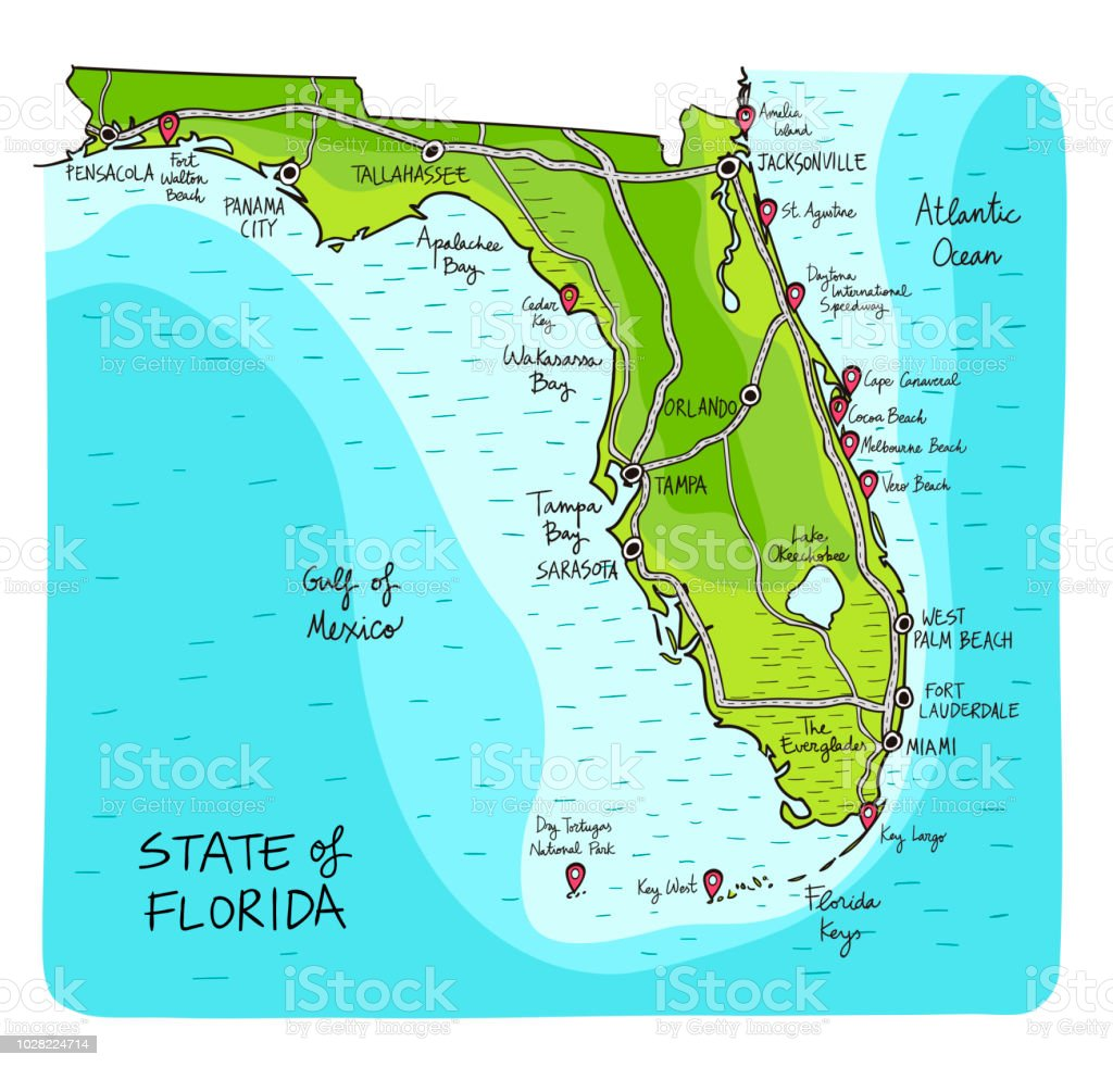 Karte Florida Miami.Hand Drawn Map Of The State Of Florida With Main Cities And