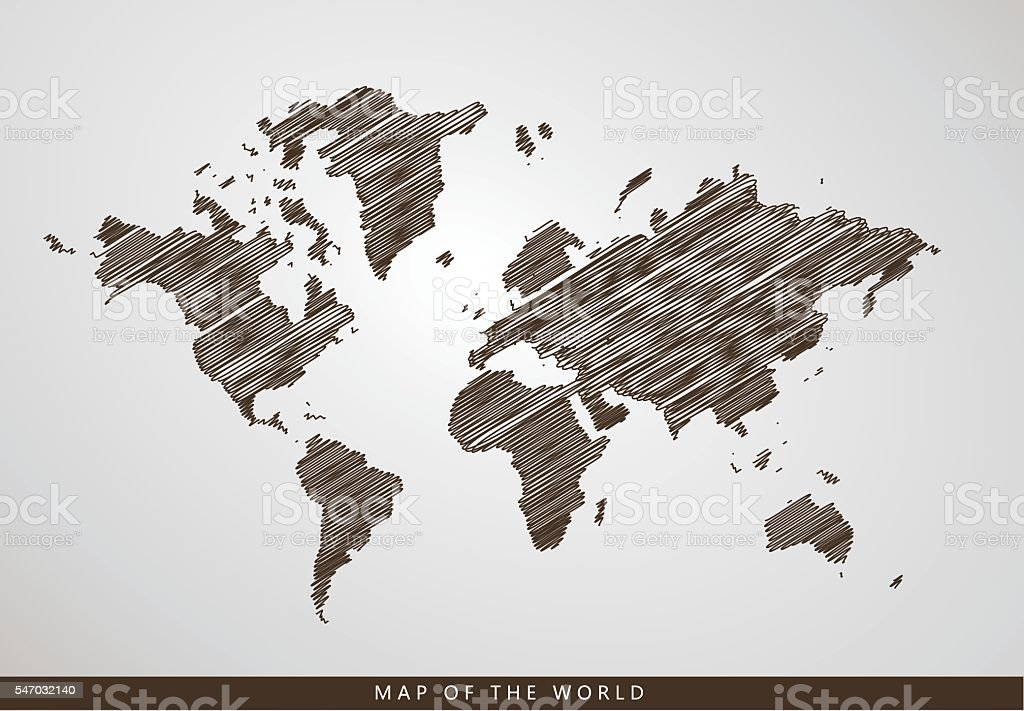 Hand Drawn Map Of The World.Hand Drawn Map Of The World Stock Vector Art More Images Of
