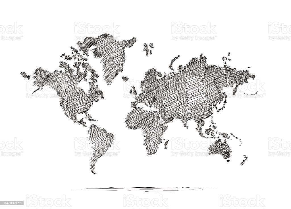 Hand Drawn Map Of The World Stock Vector Art More Images of