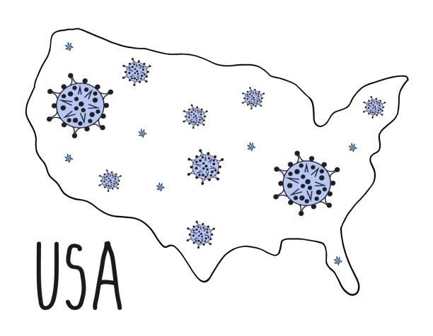 コロナウイルスを搭載したアメリカの手描き地図。 - corona newyork点のイラスト素材/クリップアート素材/マンガ素材/アイコン素材
