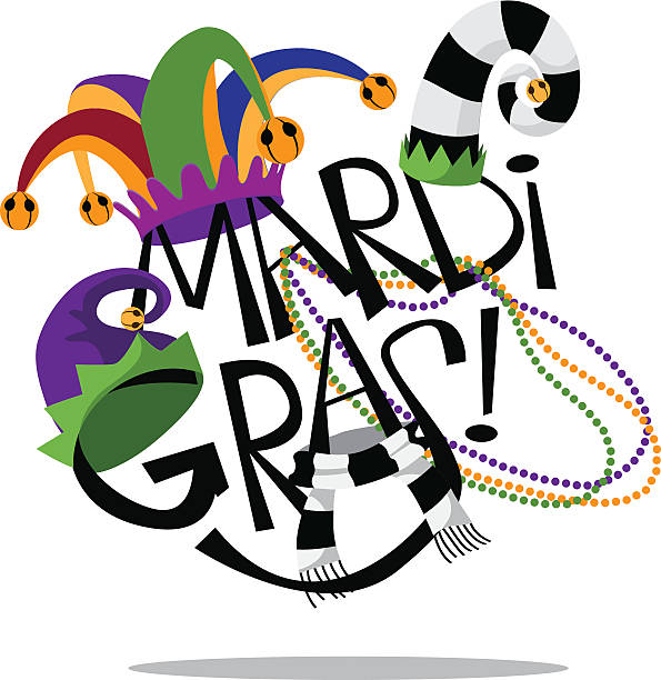 hand drawn mardi gras type with hats and beads - mardi gras cartoons stock illustrations, clip art, cartoons, & icons
