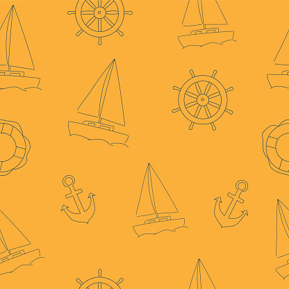 Hand drawn marine seamless pattern with sailboat, anchor and steering wheel