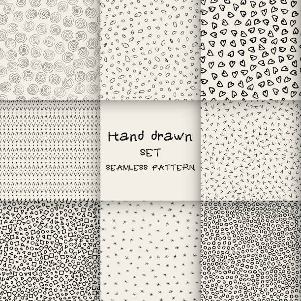 hand drawn marker and ink seamless patterns - squiggle line stock illustrations