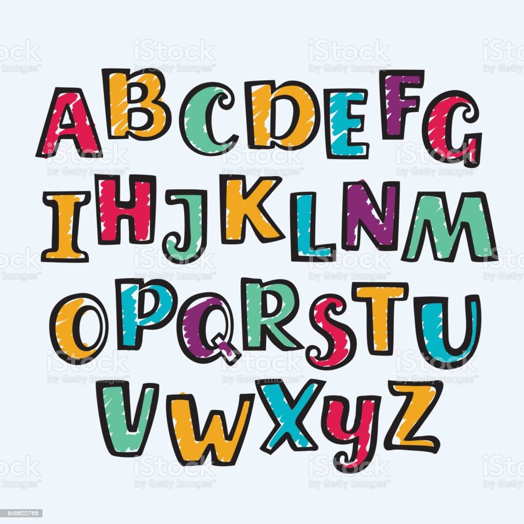 Hand Drawn Marker Colorful Uppercase Alphabet Kid Style Drawing Font And Signs Royalty