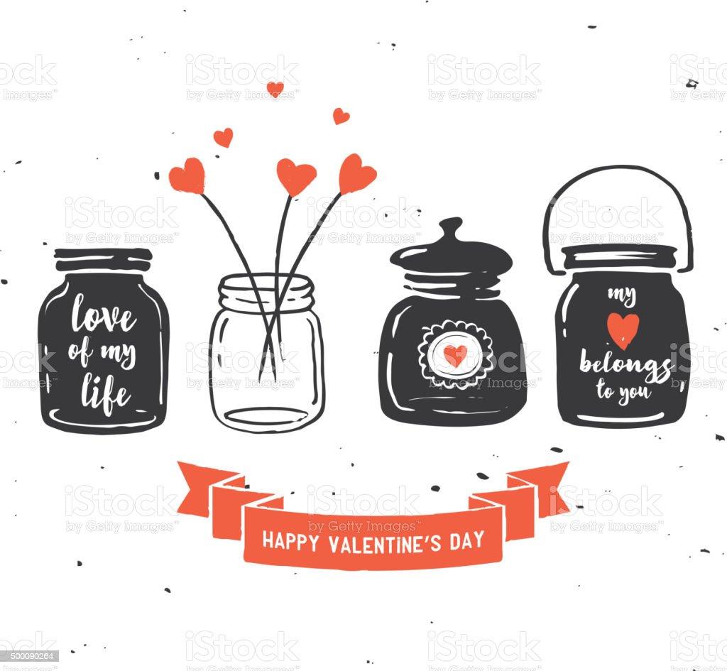 Hand Drawn Mason Jar Collection Love Quotes Stock Vector Art More