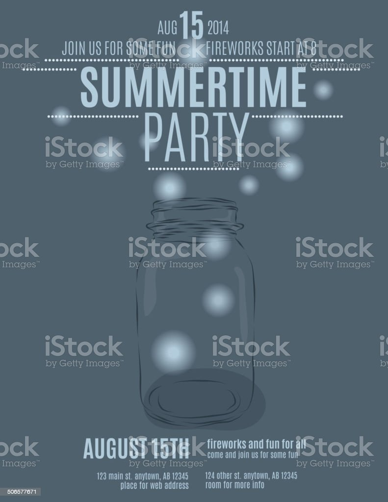 Hand drawn mason jar with fireflies flyer template vector art illustration