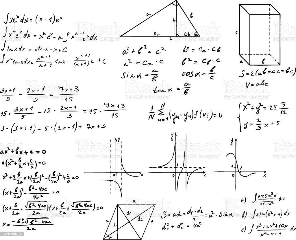 Hand drawn mathematic and geometric information vector art illustration