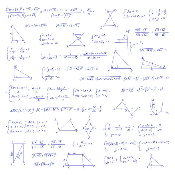 Hand drawn mathematical equation with handwritten algebra formulas Hand drawn mathematical equation with handwritten algebra formulas. Geometry figures on white paper. Exercise book. Handwriting scribble. Vector seamless pattern. Isolated on white background mathematical formula stock illustrations