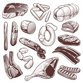 Hand drawn meat. Sketch meat products collection beef steak, pork fillet and veal bone, lamb and chicken, sausage and shank, vintage vector details raw fresh set