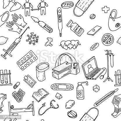 istock hand drawn medicine doodle pattern 1304566334