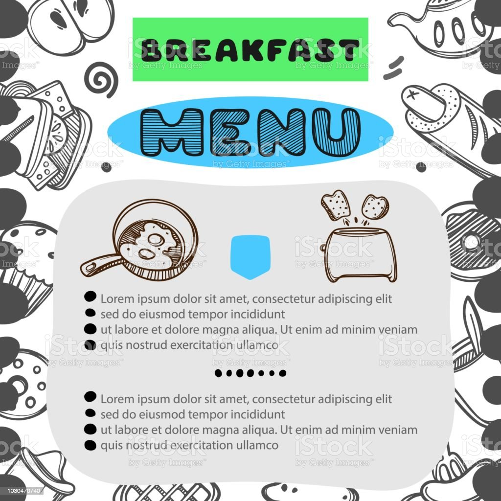 hand drawn menu for cafe with breakfast menu template design food