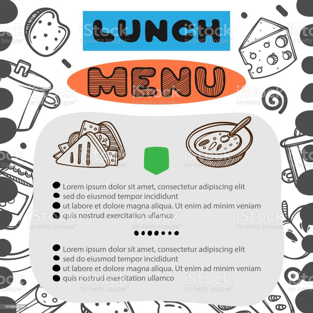hand drawn menu for cafe with lunch menu template design food flyer