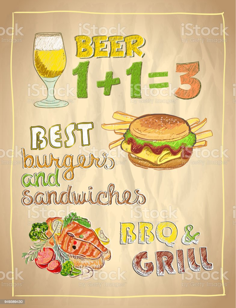 Hand Drawn Menu List With Beer Burger And Grilled Salmon Fish Stock
