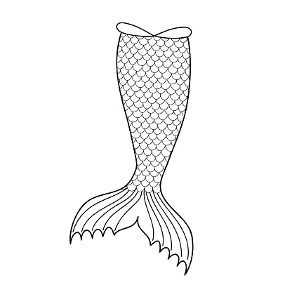 Hand drawn mermaid tail silhouette isolated on white background. Outline element for sea party, greeting or invitation card. Design for clothing print. Doodle vector illustration
