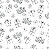 Pattern with Christmas elements for your design. Hand drawn Merry Christmas and Happy New Year doodle seamless pattern. Outline festive winter seamless pattern. Coloring page.Gift boxes and snowflakes.
