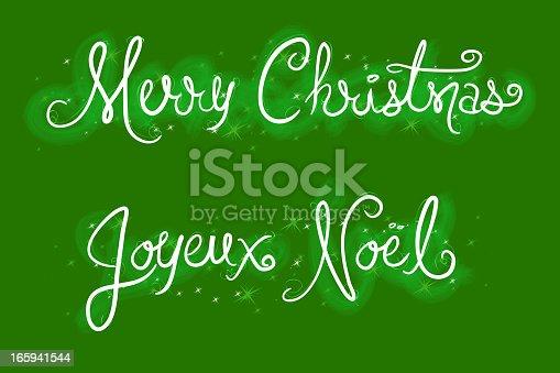 istock Hand drawn Merry Christmas and Joyeux Noel script 165941544