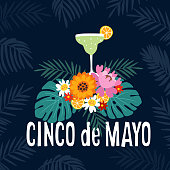 Hand drawn Mexican holiday Cinco de Mayo party greeting card, invitation. Margarita alcoholic cocktail drink with tropical flowerscitruses and palm leaves, ector illustration, web banner.