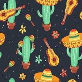 Hand drawn mexican seamless pattern. Cinco De Mayo design.
