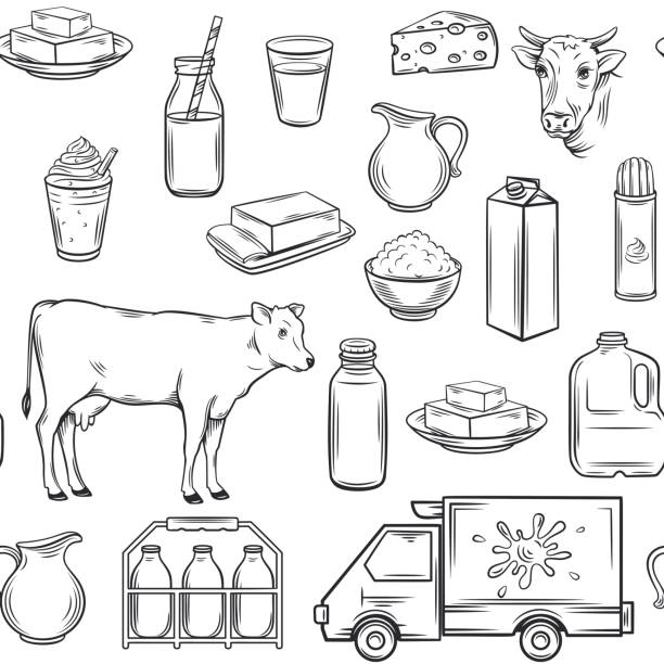 Hand drawn milk product seamless pattern vector art illustration