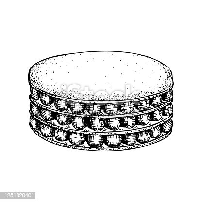 istock Hand drawn mille-feuille illustration on white background. 1251320401