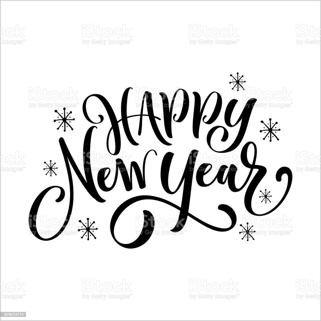 hand drawn modern brush lettering of happy new year isolated on white background royalty
