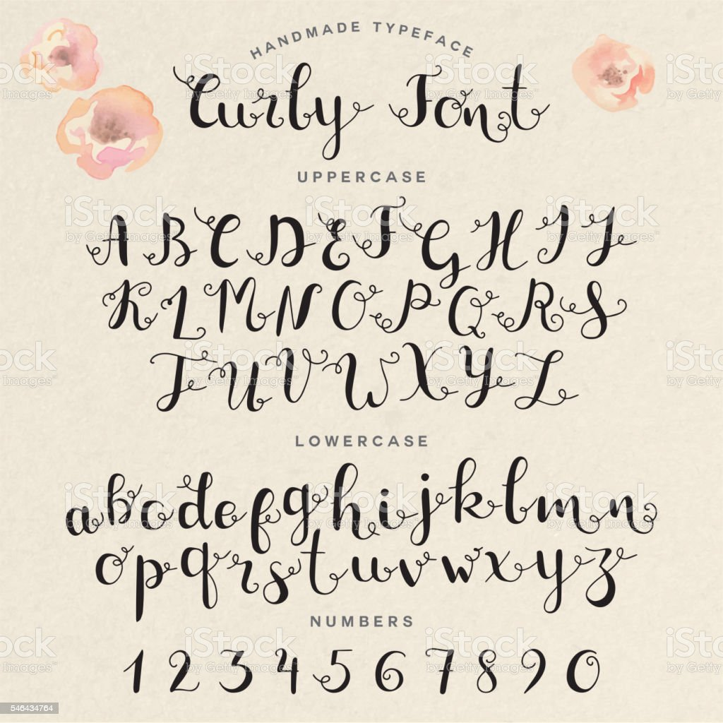Hand Drawn Modern Calligraphy Font Royalty Free Stock Vector Art