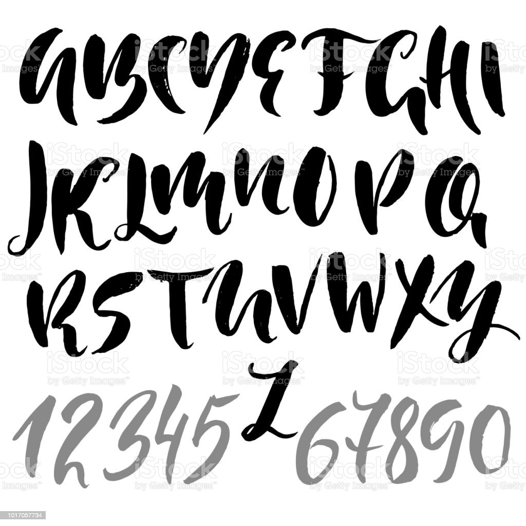 Hand drawn modern dry brush lettering grunge style alphabet handwritten font vector illustration