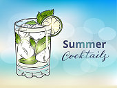 Summer cocktails design concept. Hand drawn mojito cocktail on a blurred background. Eps10 vector illustration.