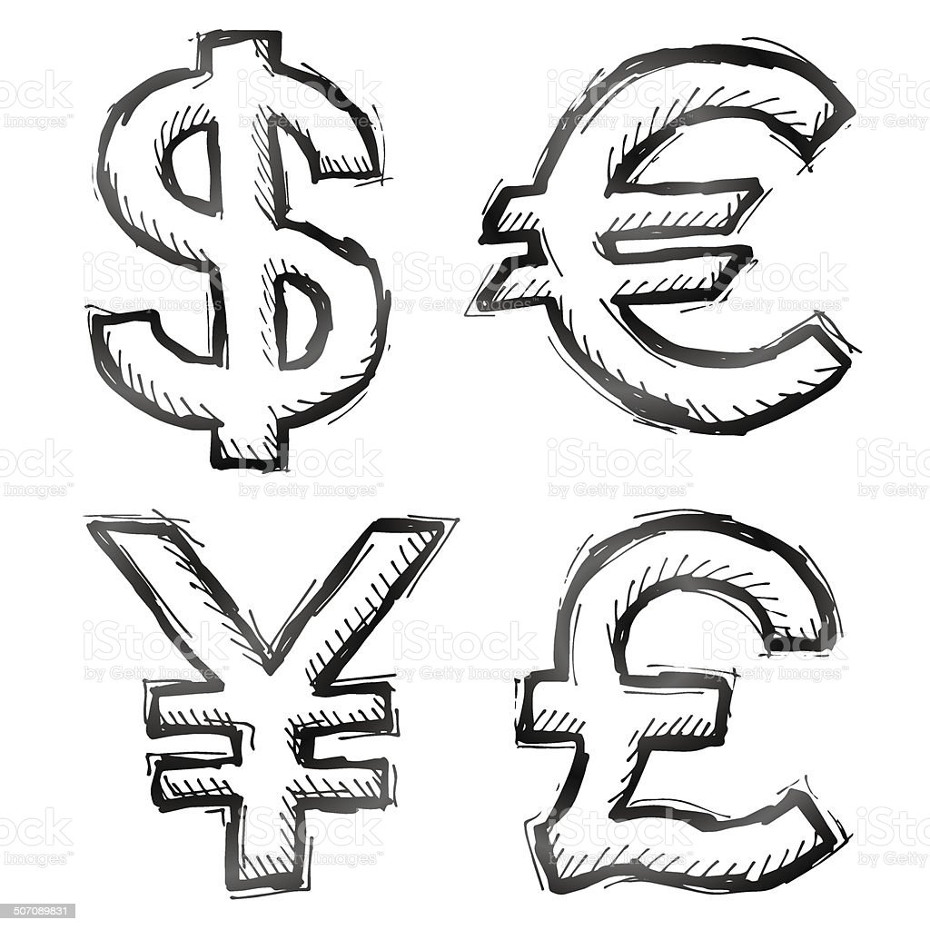 Hand Drawn Money Symbols Stock Vector Art More Images Of Bank