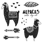 Hand drawn monochrome vector illustration. Llamas or alpacas. Scandinavian style. For nursery room posters, greeting cards, apparel and other. Black and white.
