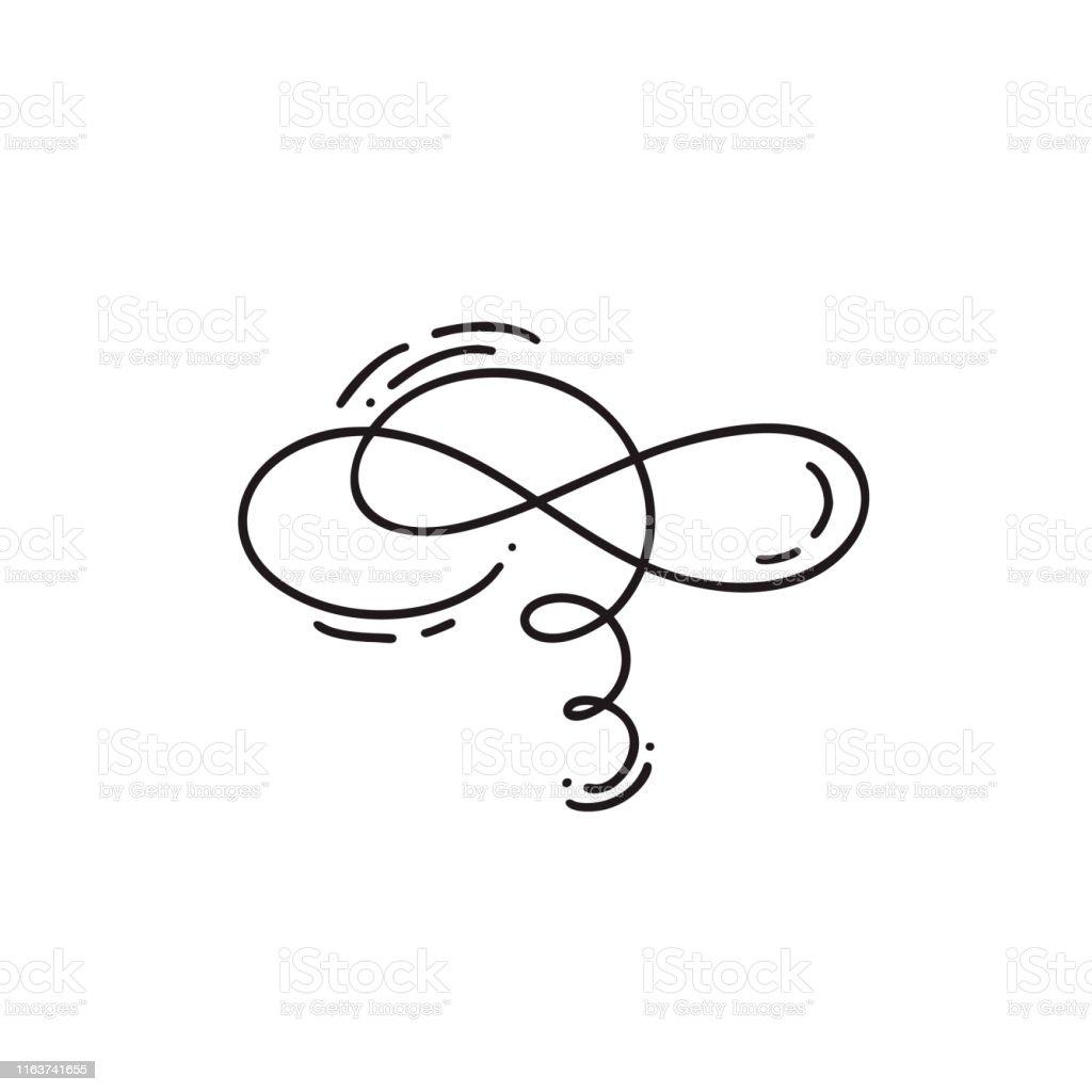Hand drawn monoline calligraphy scandinavian folk flourish vector...